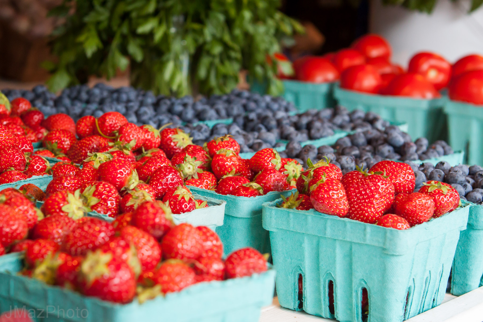Strawberries & Blueberries in Containers