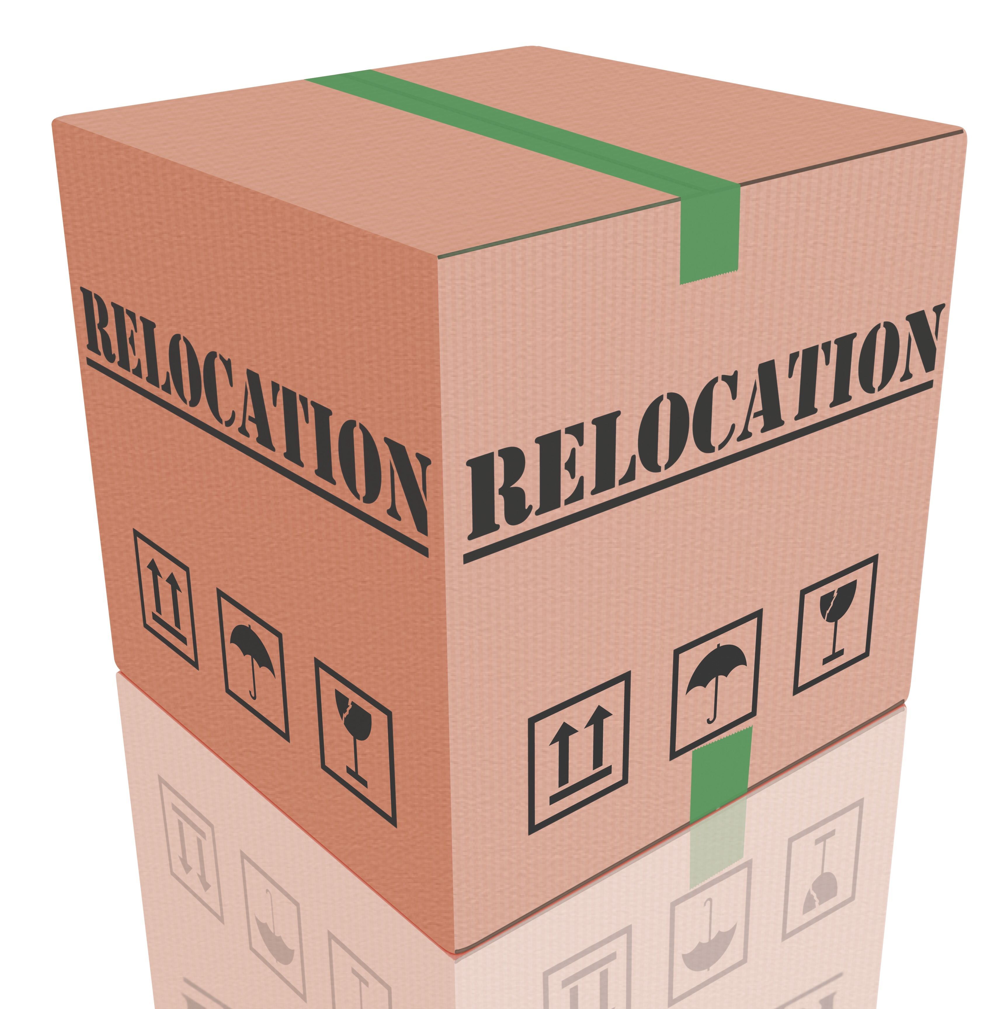 """Moving Box Labeled """"Relocation"""""""