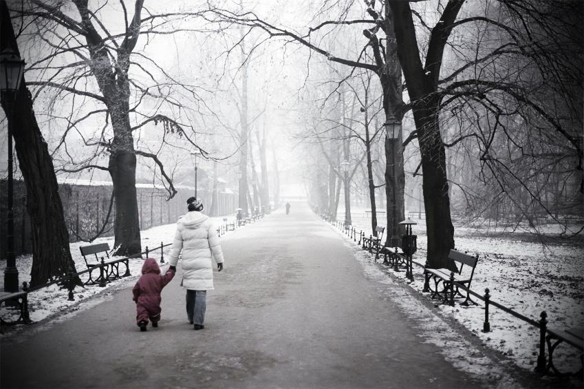 Cold Gray Winter Day Woman Walking w/ Baby