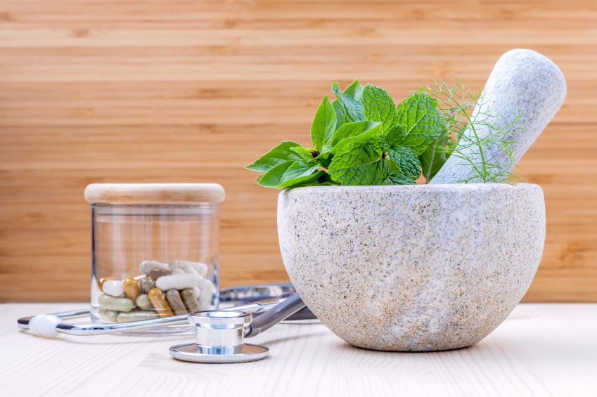 Mortar & Pestle w/ Herbs and Supplements