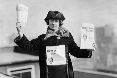 Kitty Marion with copies of the Birth Control Review in 1915