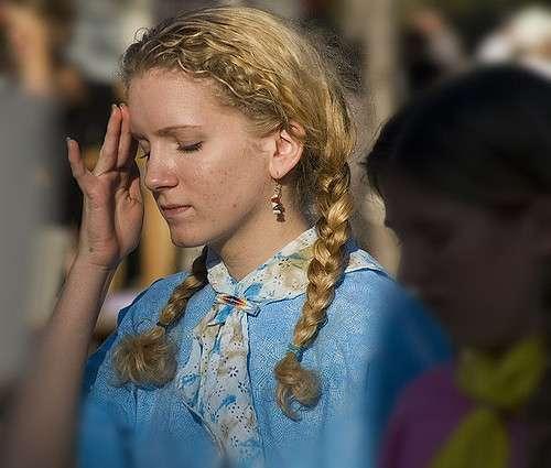 Woman Eyes Closed Touching Forehead Headache