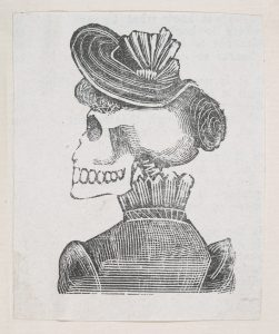 skeleton in a hat from behind